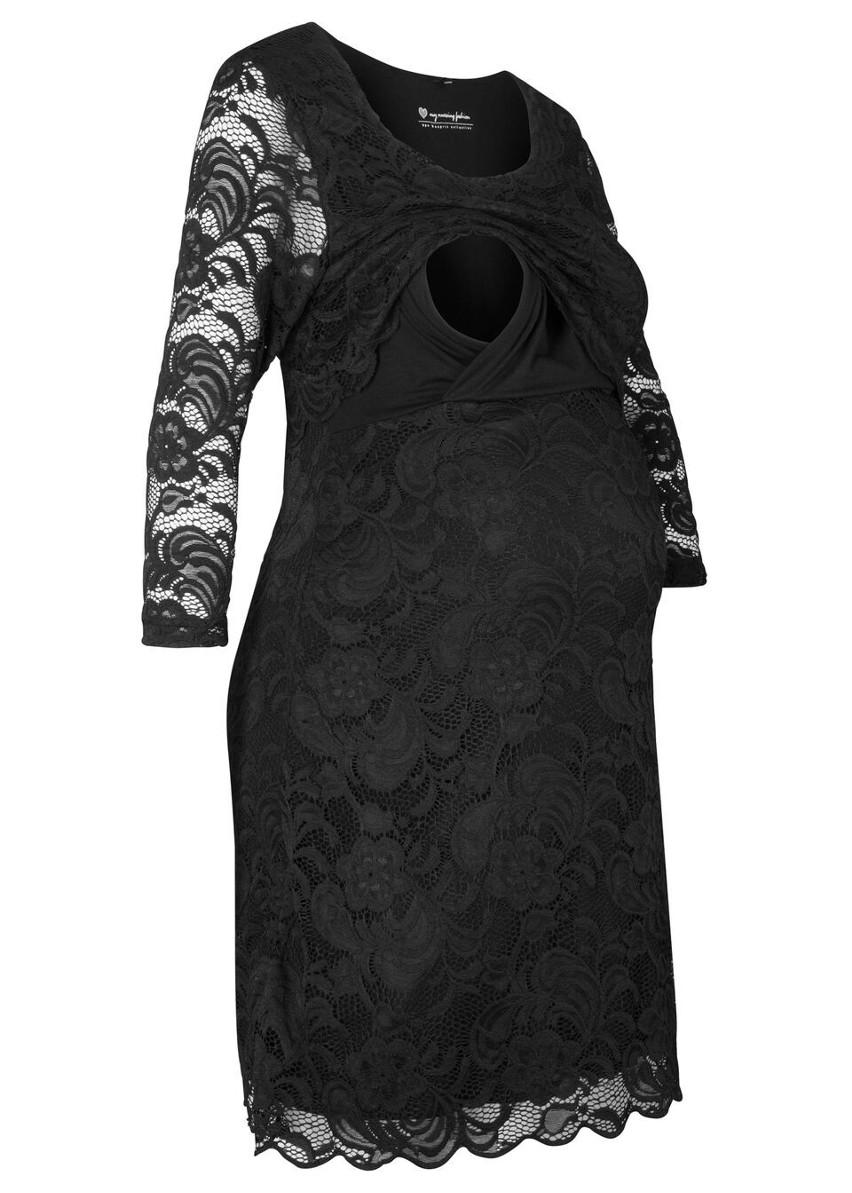 Sukienka koronkowa ciążowa i do karmienia piersią bonprix czarny