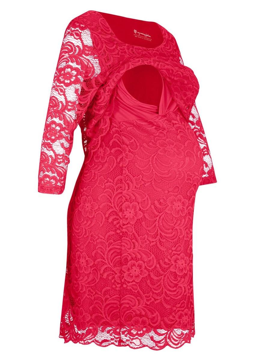 Sukienka koronkowa ciążowa i do karmienia piersią bonprix czerwony