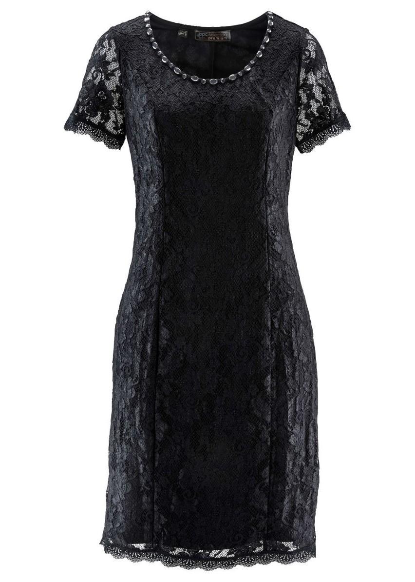 Sukienka koronkowa Premium bonprix czarny