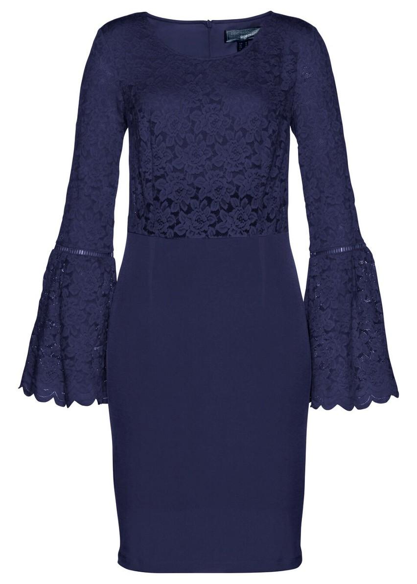 Sukienka koronkowa z efektem shape bonprix ciemnoniebieski
