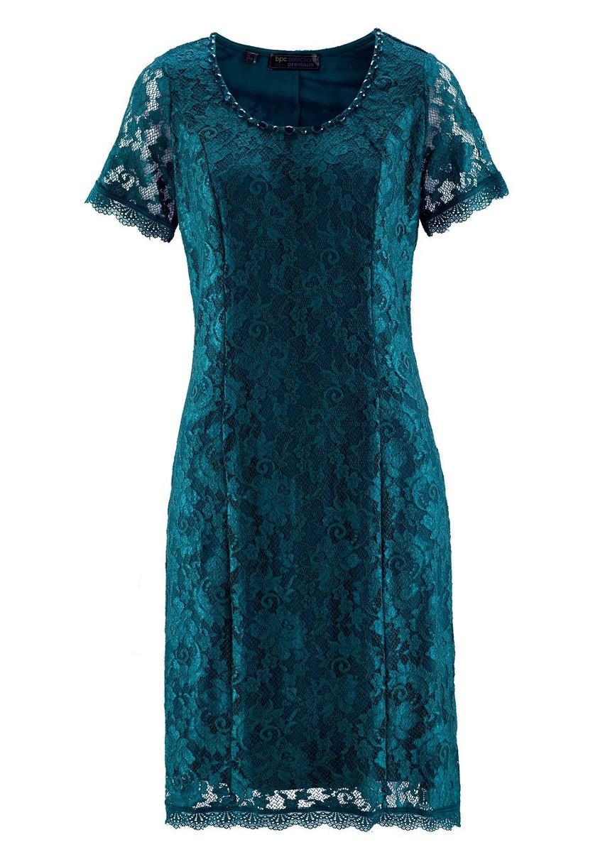 Sukienka koronkowa Premium bonprix niebieskozielony