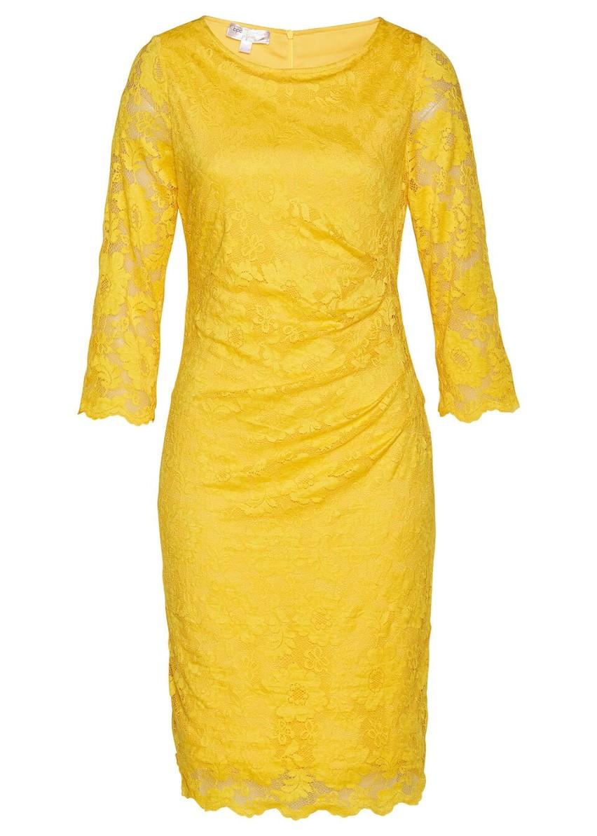 Sukienka koronkowa shape z ozdobnym marszczeniem bonprix żółty kanarkowy