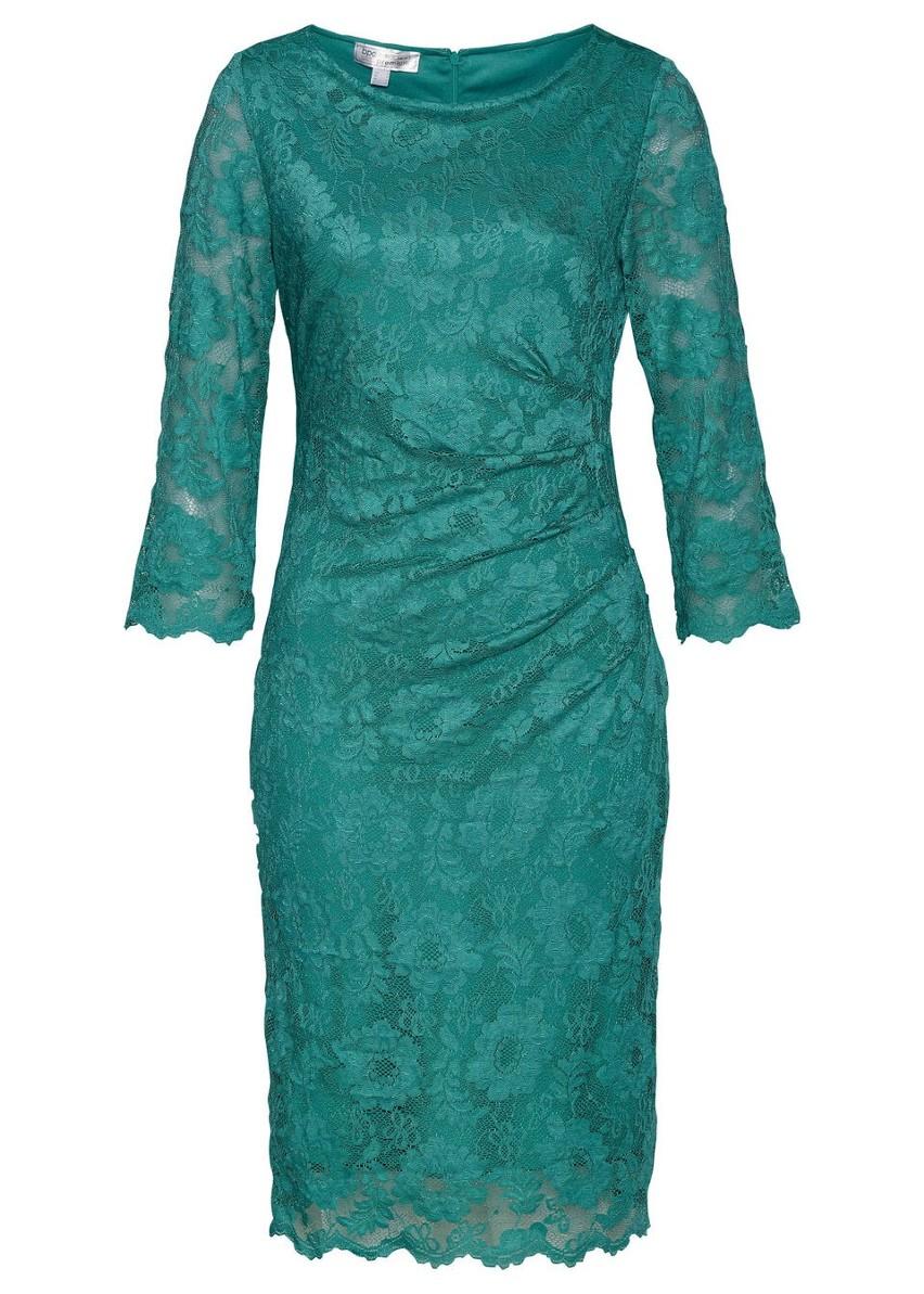 Sukienka koronkowa shape z ozdobnym marszczeniem bonprix dymny szmaragdowy