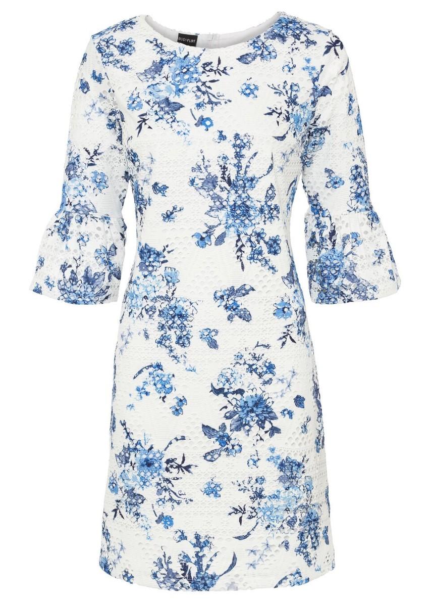 Sukienka koronkowa z nadrukiem bonprix biel wełny - niebieski w roślinny wzór