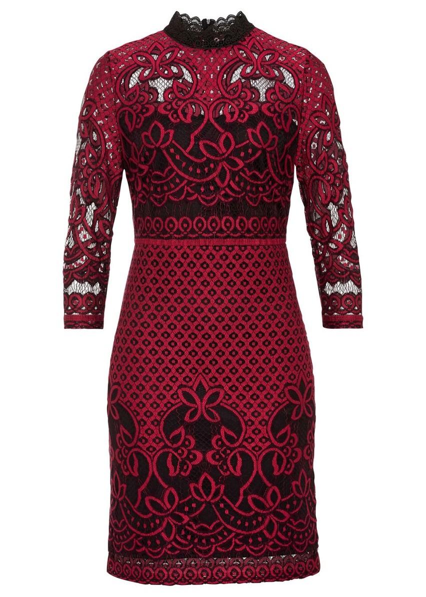 Sukienka koronkowa bonprix czarno-ciemnoczerwony