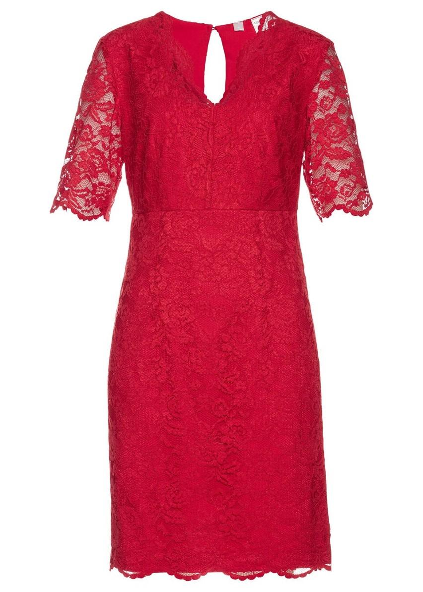 Sukienka koronkowa bonprix czerwony