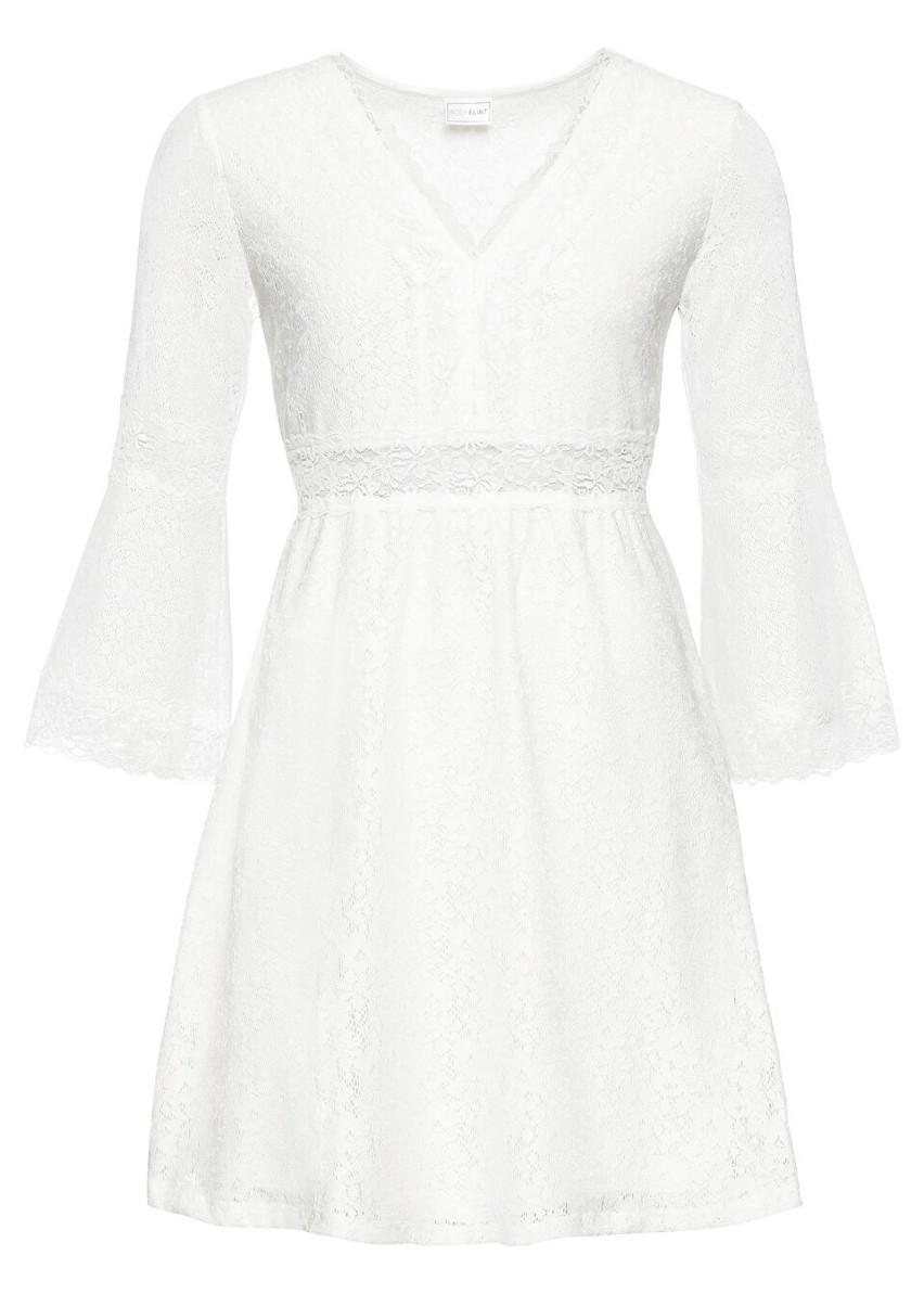 Sukienka koronkowa bonprix biel wełny