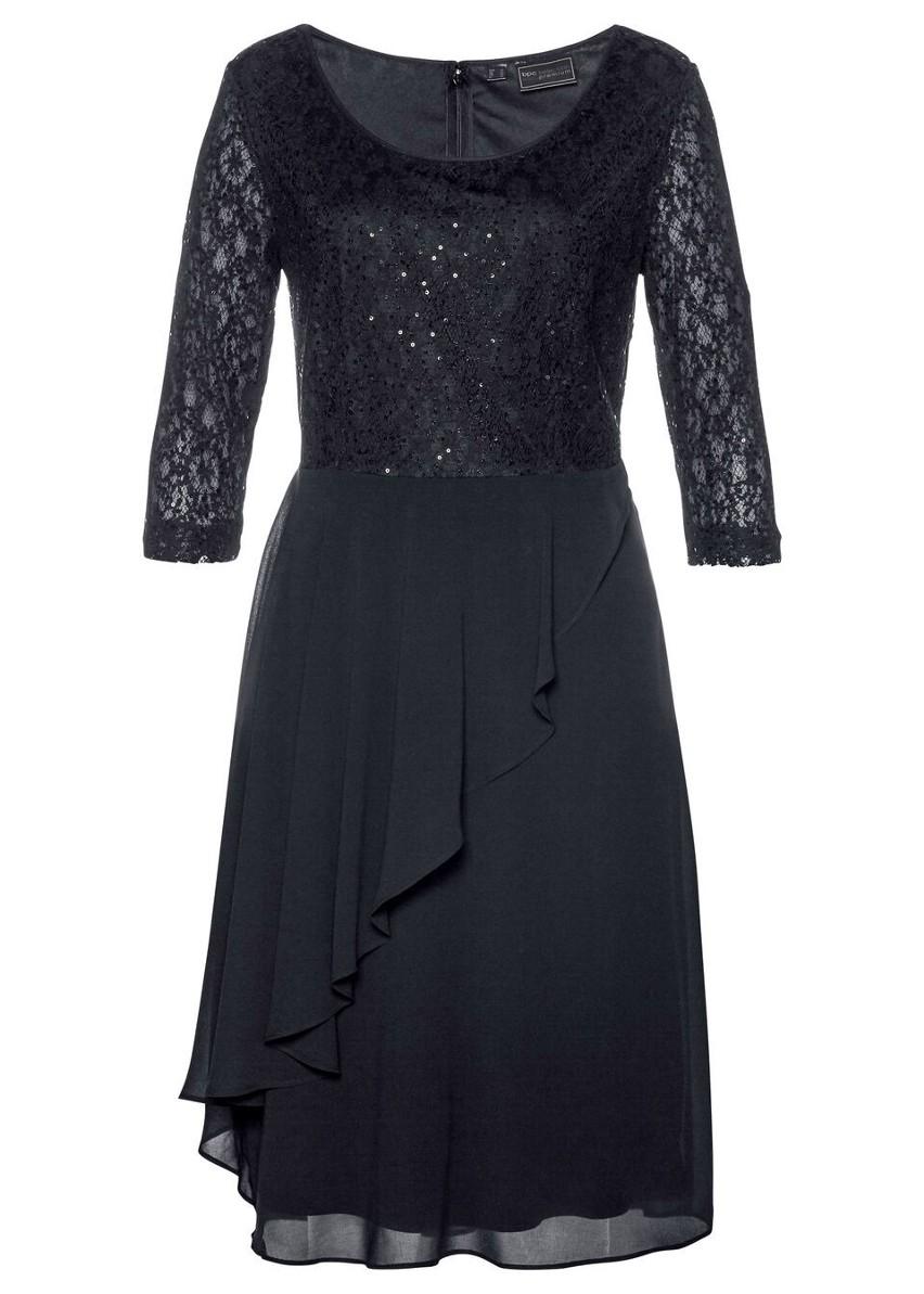 Sukienka koronkowa z cekinami bonprix czarny