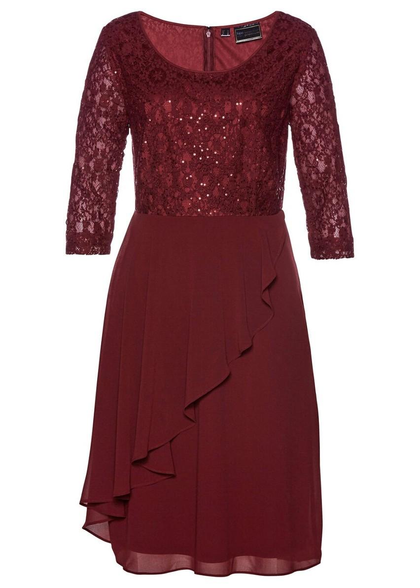 Sukienka koronkowa z cekinami bonprix czerwony rubinowy
