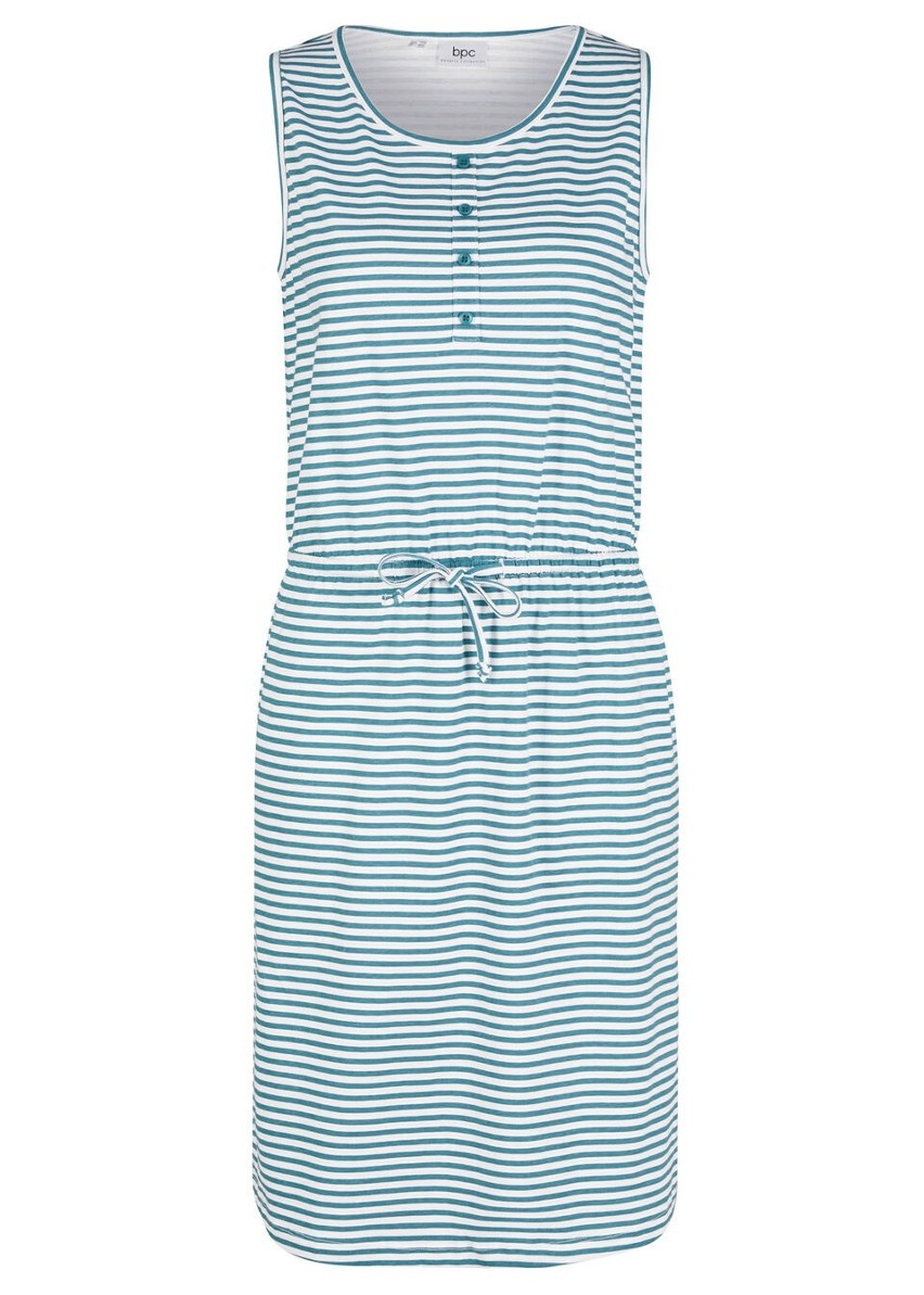 Sukienka z dżerseju z plisą guzikową i wiązanym paskiem bonprix matowy kobaltowy - biały w paski
