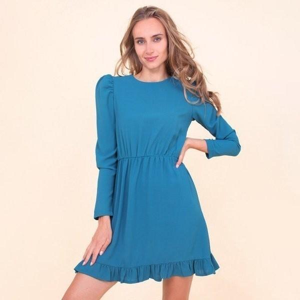 Turkusowa sukienka z falbankami - Odzież