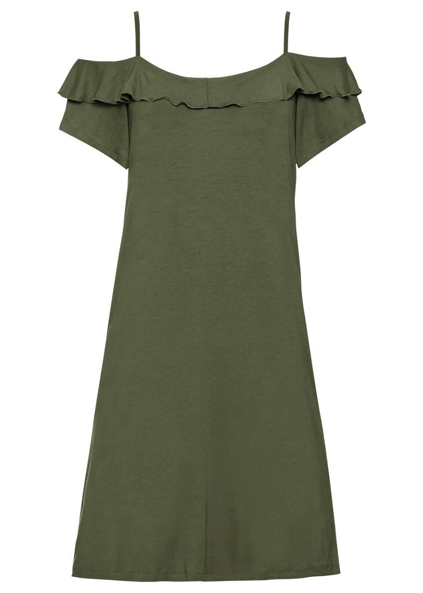 Sukienka cold-shoulder z dżerseju z falbanami bonprix ciemny khaki