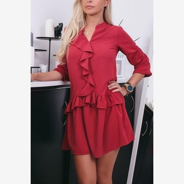 Czerwona rozkloszowana sukienka z falbankami - Odzież