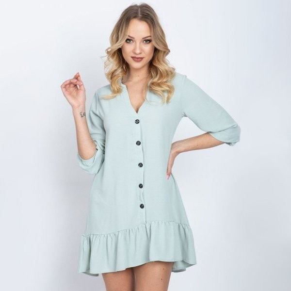 Miętowa sukienka z falbanką - Odzież
