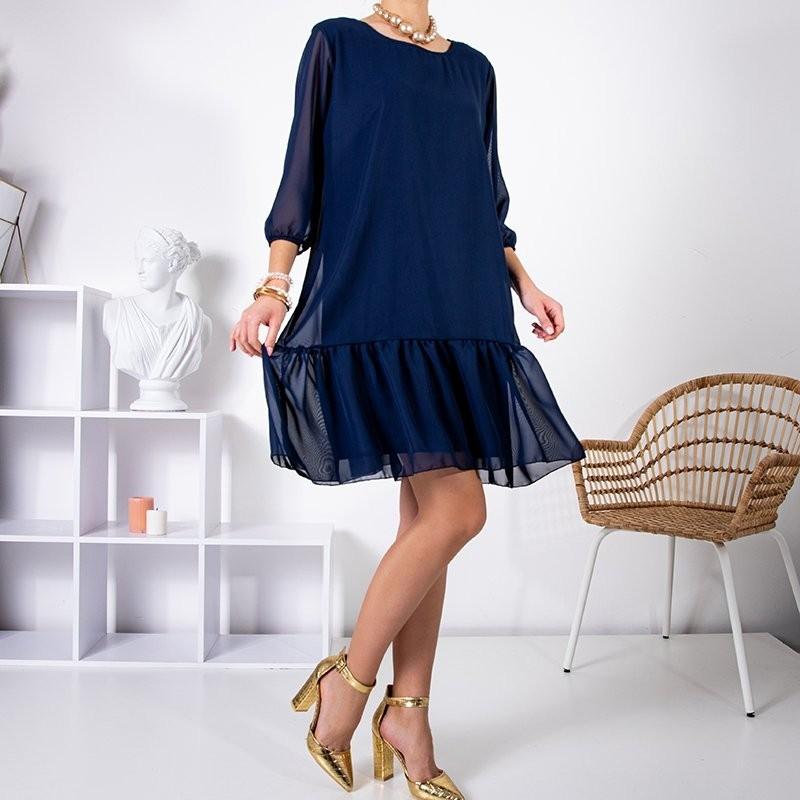 Granatowa damska sukienka z falbanką PLUS SIZE - Odzież