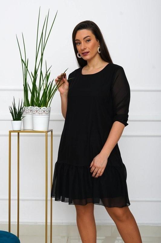Czarna damska sukienka z falbanką PLUS SIZE - Odzież