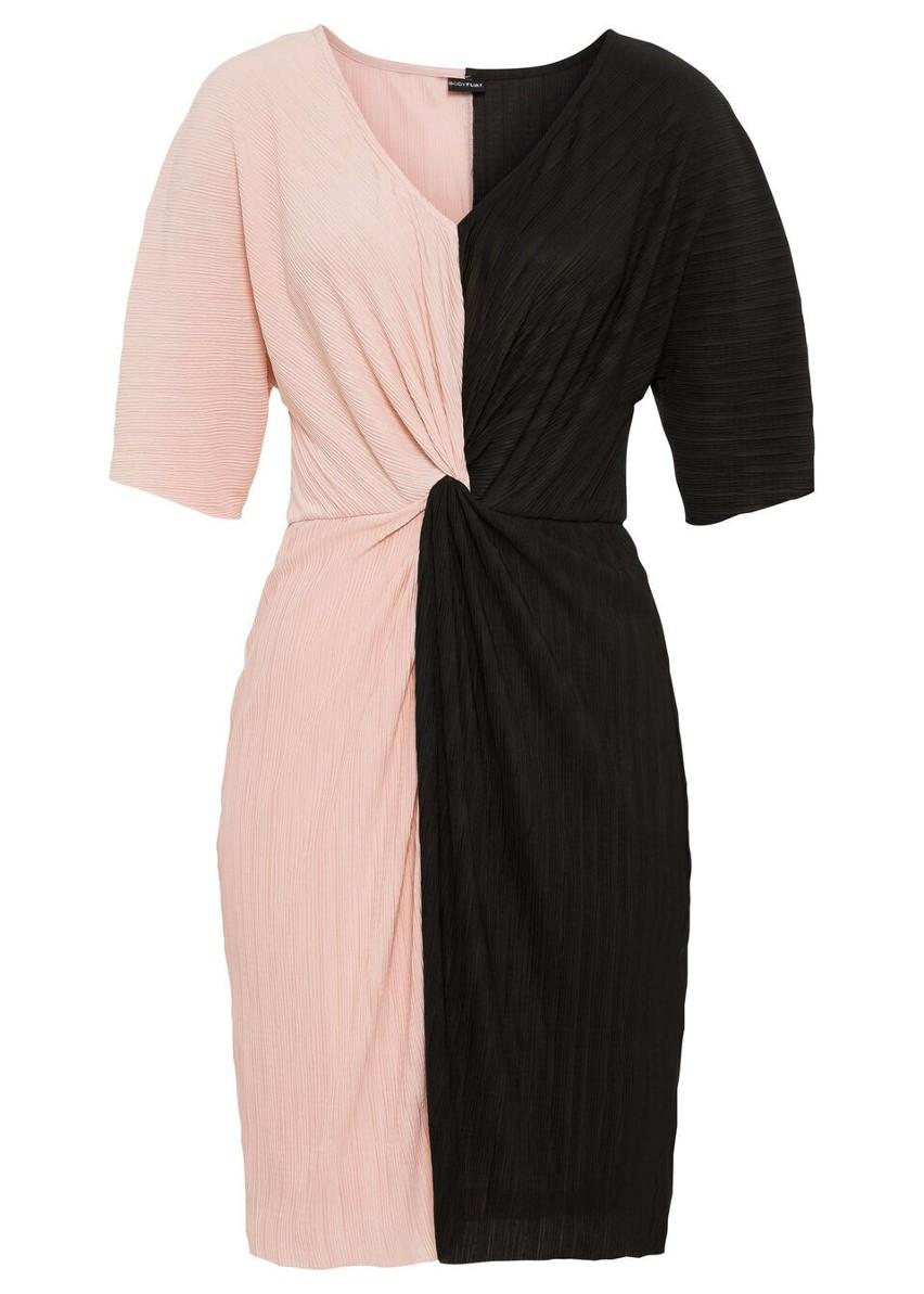 Sukienka plisowana bonprix czarno-jasnoróżowy