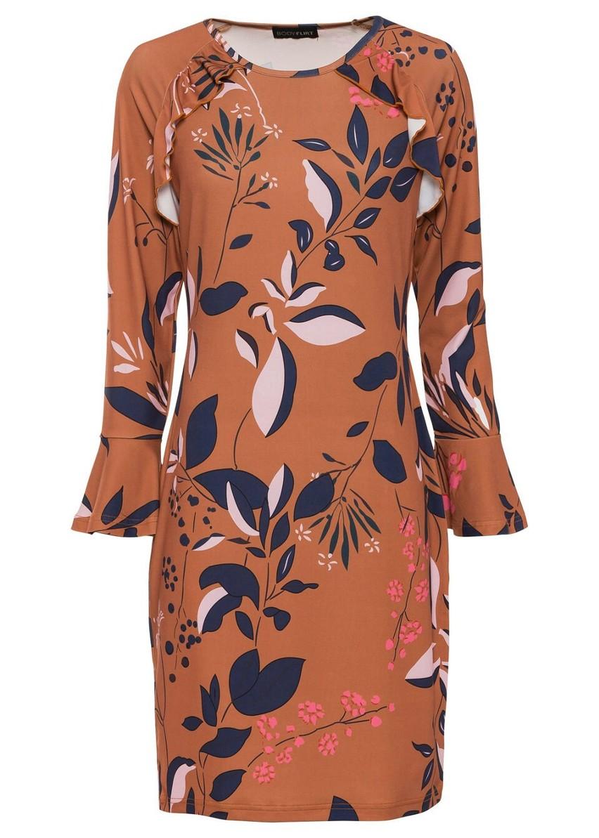 Sukienka z dżerseju z nadrukiem, długi rękaw bonprix brązowy z nadrukiem