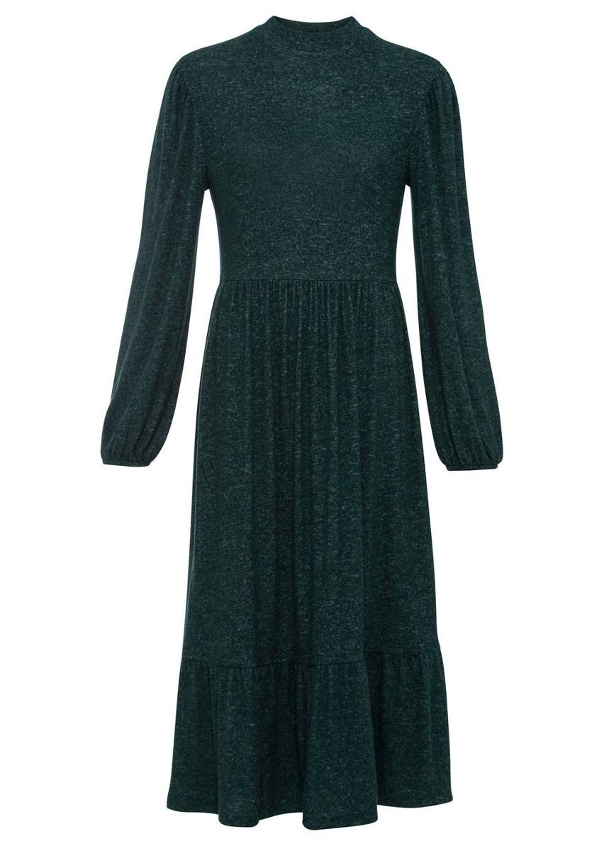 Sukienka midi bonprix zielony leśny melanż