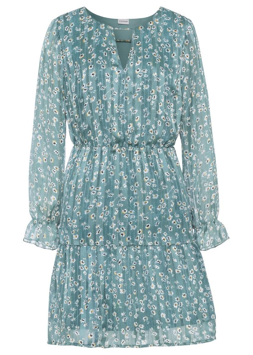 Sukienka z nadrukiem bonprix niebieski mineralny w kwiaty