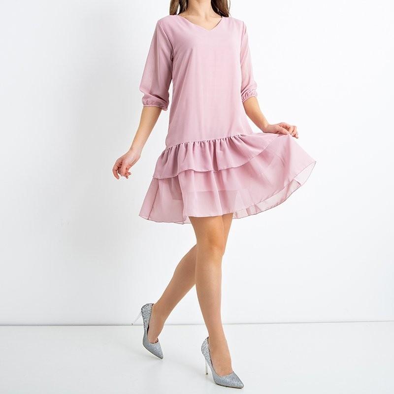 Różowa damska sukienka z falbankami - Odzież