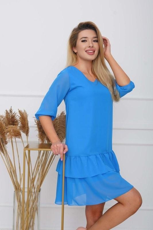 Niebieska damska sukienka z falbankami - Odzież