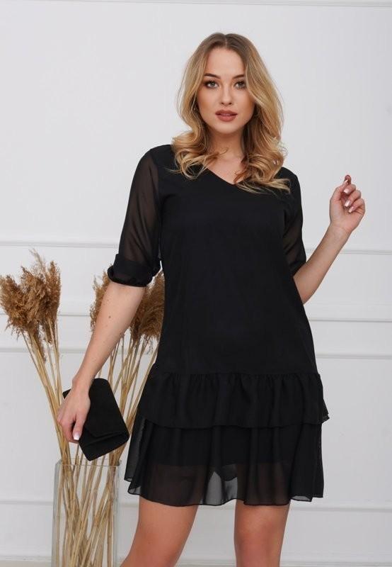 Czarna damska sukienka z falbankami - Odzież