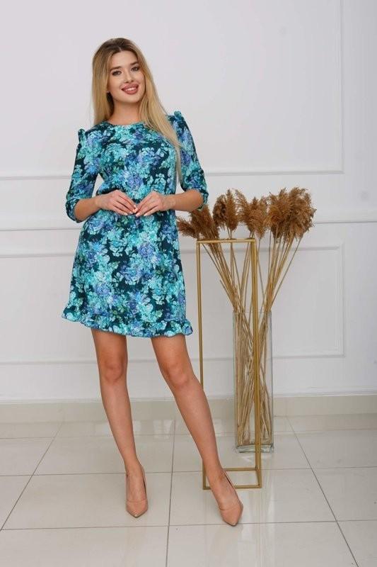 Turkusowa wzorzysta sukienka mini - Odzież