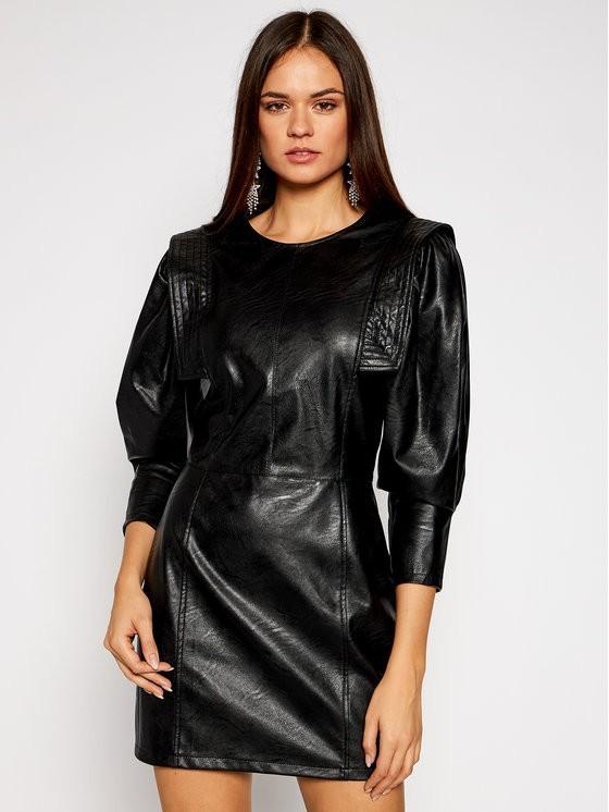 Imperial Sukienka skórzana AA5AABD Czarny Slim Fit