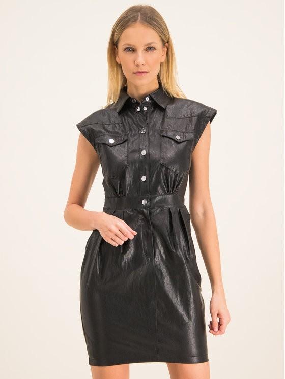 Pinko Sukienka skórzana Savarin PE 20 BLK01 1G14LX 7866 Regular Fit