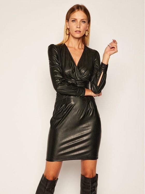 Pinko Sukienka skórzana Enrico Al 20-21 BLK01 1G150D Y6BF Czarny Slim Fit