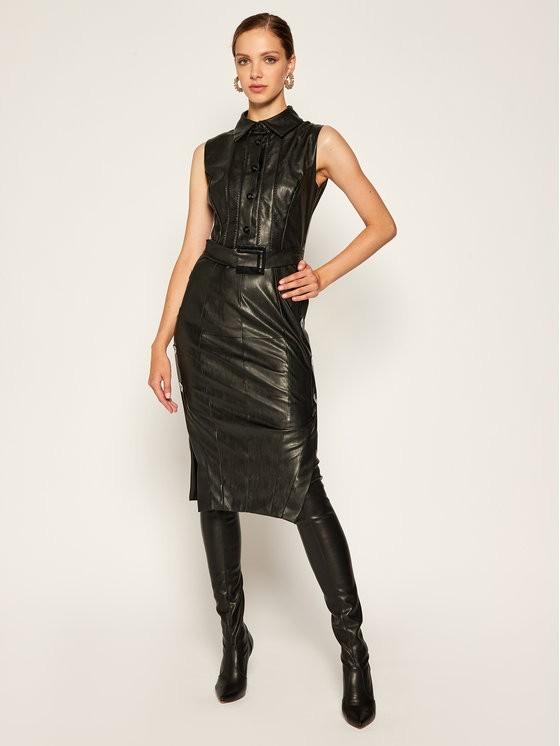 Babylon Sukienka skórzana E00780 Czarny Slim Fit
