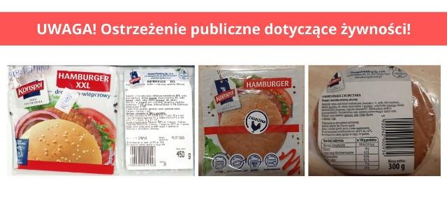 """Wycofanie wskazanych partii produktu """"Hamburger XXL drobiowo-wieprzowy"""" oraz """"Hamburger drobiowy"""" ze względu na wykrycie obecności bakterii Listeria monocytogenes"""