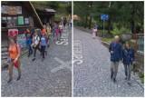 Tłumy turystów na deptaku w Karpacz. Kamera Google Street View w akcji w mieście pod  Śnieżką