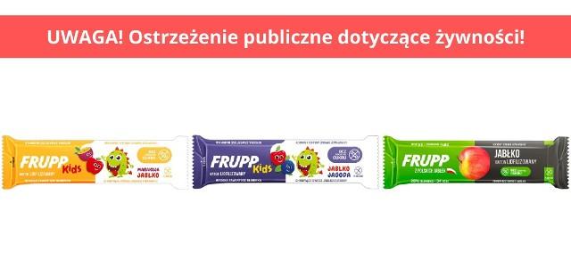 """Dobrowolne wycofanie 3 partii produktów pn.  """"Frupp Jabłko"""", """"Frupp Kids jabłko – marakuja"""", """"Frupp Kids jabłko – jagoda"""""""