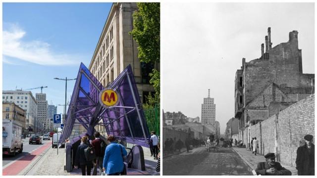 To zdjęcie najlepiej oddaje zmiany jakie zaszły w Warszawie. Nasz fotograf wybrał się na skrzyżowanie ulicy Świętokrzyskiej z Traktem Królewskim. Po prawej widzimy miasto zniszczone bombardowaniem (rok 1939) i pozostałości przedwojennej Warszawy. Po lewej nowoczesne miasto z metrem, trasami rowerowymi oraz odbudowanymi budynkami. To co łączy te zdjęcia to gmach Prudentialu/Hotelu Warszawa.