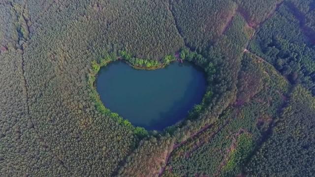 Absolutnie niezwykłe jezioro w kształcie serca leży 30 km od Świebodzina
