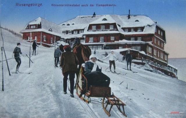 Lata 1910-1920   Zimą pod Hampelbaude.