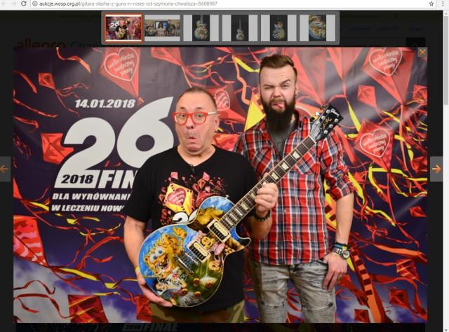 Jedyna w swoim rodzaju gitara, która została pomalowana przez Szymona Chwalisza i zaprojektowana przez samego Slasha, gitarzystę Guns N' Roses!  Link do aukcji tutaj.