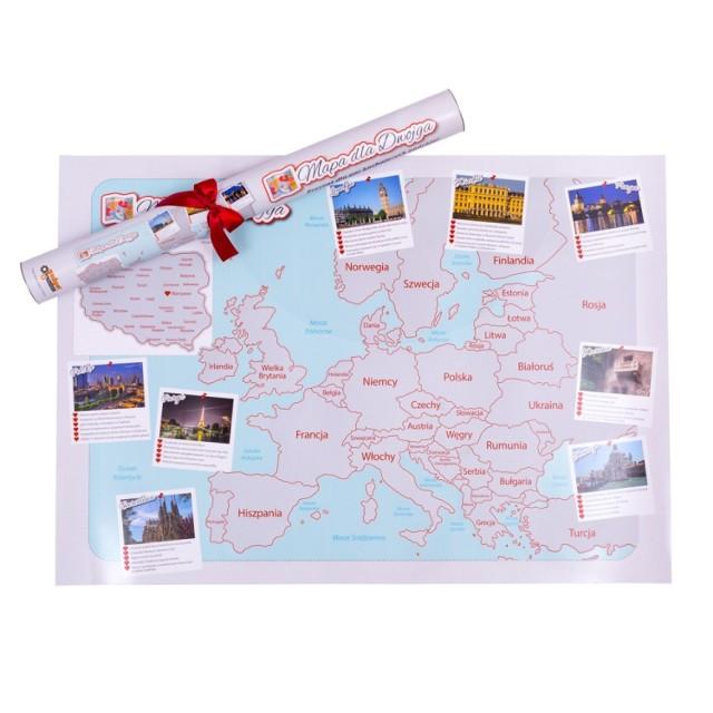 Twoja druga połówka uwielbia podróże?  To dobrze trafiłaś!   Mapa dla dwojga to praktyczny prezent dla miłośników wszelkich wycieczek. Na mapie zaznaczone są wszystkie romantyczne miejsca takie jak Paryż czy Wenecja. Mapa jest w formie zdrapki. Ponadto zawiera wiele pomysłów na romantyczne spędzenie czasu.