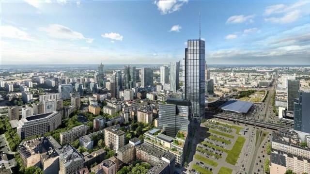 Varso z dalszej perspektywy.  Zobacz też:  Varso Tower. Najwyższy wieżowiec w Unii Europejskiej powstanie w Warszawie. Wiemy kiedy!