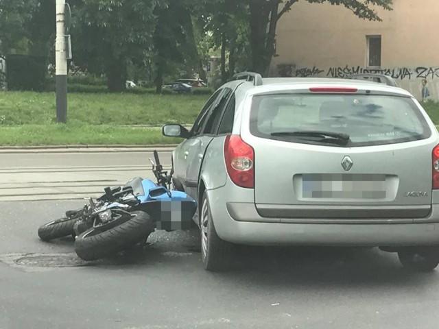 Wypadek motocyklisty na Zielonej w Łodzi