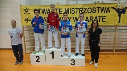 Wrzesiński Klub Karate wrócił z Mistrzostw Warszawy z trzema złotymi medalami
