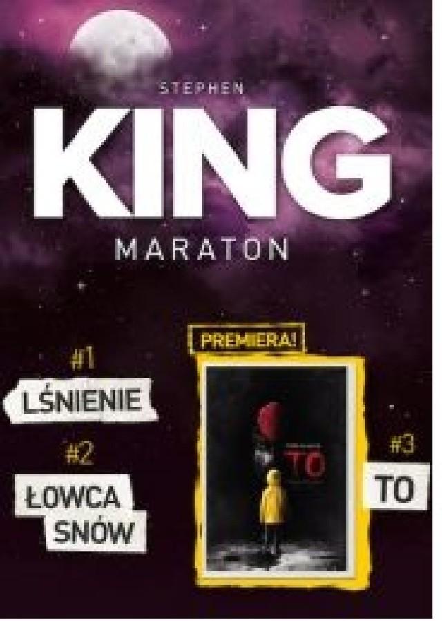 """Już 8 września kino Helios zapraszaja na wyjątkowy maraton filmowy z ekranizacjami kultowych powieści mistrza - Stephena Kinga! Na początek pokazany zostanie klasyk gatunku, uznawany za jeden z najlepszych filmów wszech czasów, horror LŚNIENIE. Poza tym w repertuarze jeszcze świetny """"ŁOWCA SNÓW"""" i premierowo jeden z najbardziej oczekiwanych filmów tego roku – """"TO"""".  Start: 08.09.2017r. godz. 23.00 do rana  Do każdego biletu w kasie kina dołączony będzie kupon uprawniający do jednorazowej dolewki napoju w kubku (Pepsi, Mirinda, 7up, Ice Tea), sprzedawanego w barze kina Helios."""
