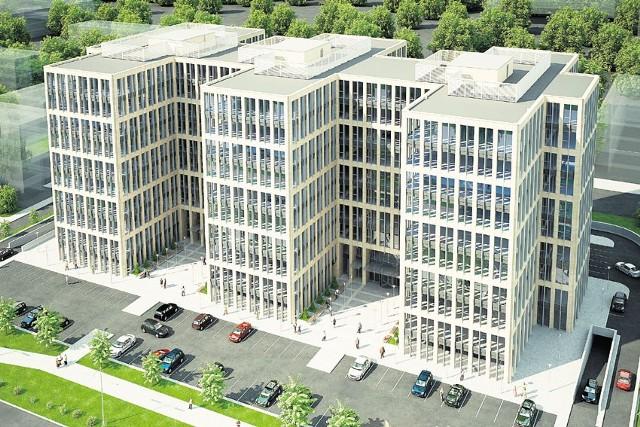 """Tak """"złoty biurowiec"""" miał wyglądać według pierwotnych planów. Nowej wizualizacji jeszcze nie ma, ale wiadomo, że powstaną dwa mniejsze budynki."""