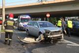 Wrocław. Zobacz zdjęcia z groźnie wyglądającego wypadku na moście Milenijnym