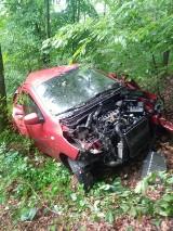 Wypadek w gminie Przywidz. Samochód wypadł z drogi i stoczył się ze skarpy |ZDJĘCIA