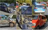Zderzenie trzech aut we Włocławku. Poszkodowany 10-latek [zdjęcia]