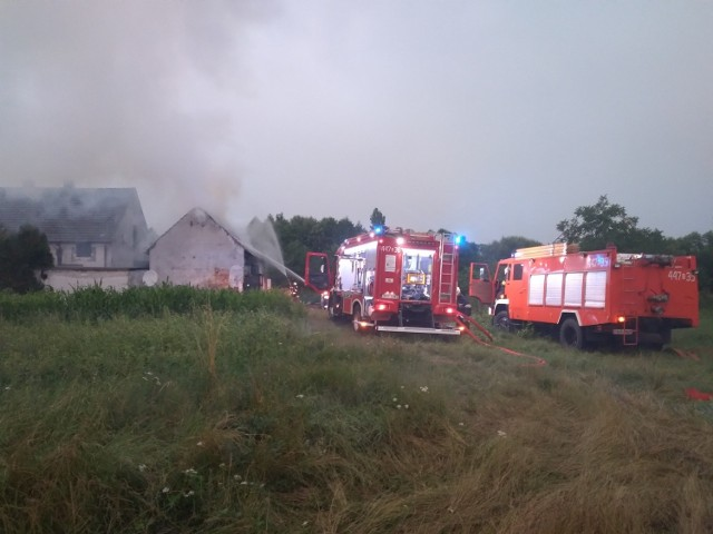 Pożar stodoły w Krępnej.