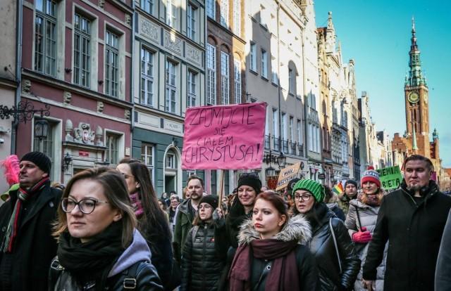 Manifa na ulicach Gdańska, 8.03.2020
